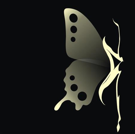 femme papillon: La jeune fille avec des ailes transparentes d'un papillon se trouve