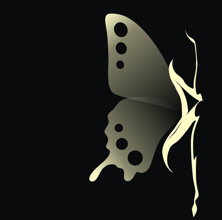 skinny woman: The girl with transparent wings of a butterfly sits Illustration