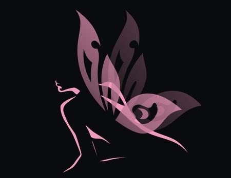 donna farfalla: La ragazza con le ali trasparenti di una farfalla si siede Vettoriali