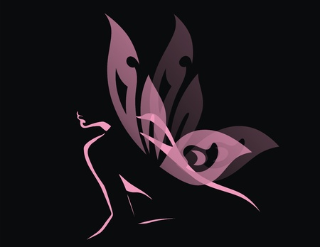 The girl with transparent wings of a butterfly sits Vector