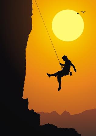 クライマー: クライマーはロープに岩からダウン  イラスト・ベクター素材