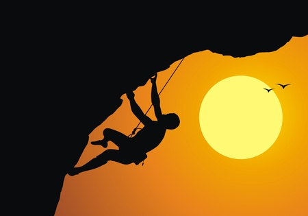 The rock-climber rises on the rock on a rope Stock Vector - 12809059