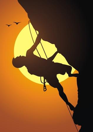 クライマー: Rock-climber 上昇ロープの岩の上