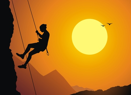 The girl the rock-climber goes down from the rock on a rope Stock Vector - 13012350