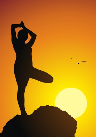 The girl costs in a yoga pose against a sunset Stock Vector - 13168480
