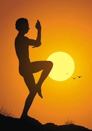 The man costs in a yoga pose against a sunset Vector