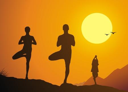 De familie yoga tegen een daling van yoga