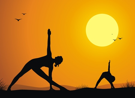 Mother with the son practice yoga against a sunset