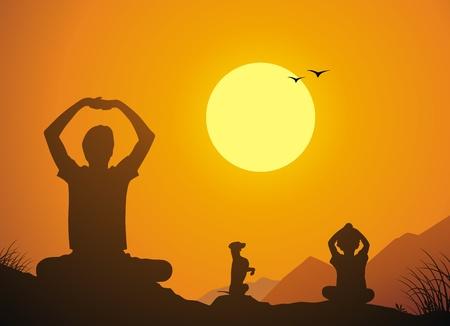 De vader en de dochter samen met een hond aan yoga tegen een zonsondergang