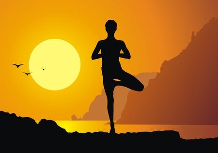 Het meisje aan yoga tegen een zonsondergang