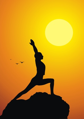 The girl costs in a yoga pose against a sunset Vector