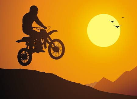 The motorcyclist does a jump against a sunset Vector