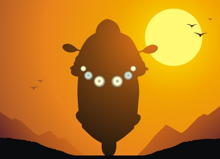 idzie: Motocyklista przechodzi na drodze do tle zachodu słońca Ilustracja