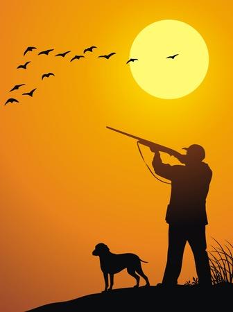 Der Mann zusammen mit einem Hund jagt auf einem Schuss auf einen Sonnenuntergang Vektorgrafik