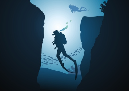 man underwater: The diver emerges from the gorge against the sun