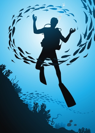 The diver floats among corals and fishes