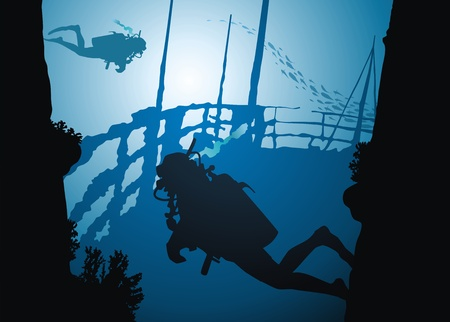 Divers swim on fragments of the sunk ship