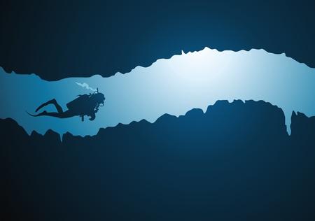 undersea: El buceador flotando en un estrecho t�nel submarino