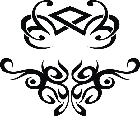 butterfly tail: The stylized pattern in the form of a tattoo