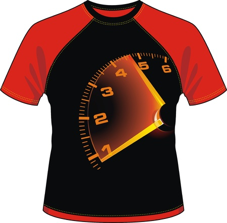 T-shirt with drawing in the form of a speedometer Stock Vector - 13196917