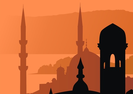 Roofs and mosque peaks against a sunset Stock Vector - 13229471