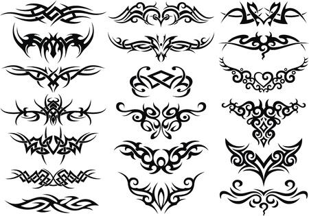 De gestileerde patronen in de vorm van een tatoeage Vector Illustratie