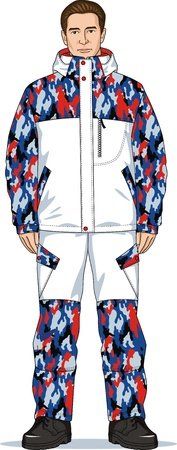 warmed: Suit winter for driving on a snowboard and skis
