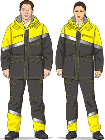 The clothes for men and women consist of a jacket and trousers