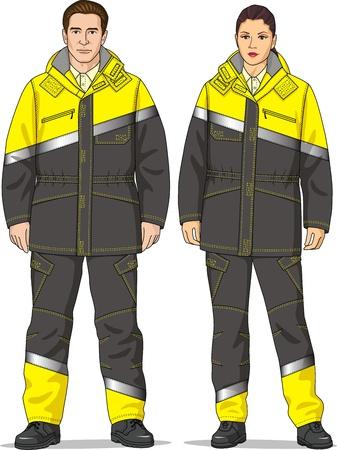 De kleding voor mannen en vrouwen bestaat uit een jas en broek Stock Illustratie