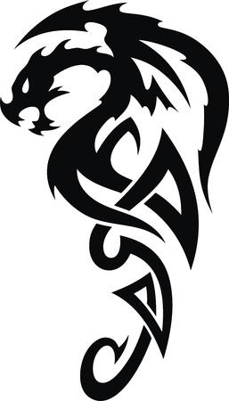 snake year: El drag�n estilizado en forma de un tatuaje Vectores