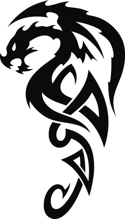 dragon year: The stylized dragon in the form of a tattoo