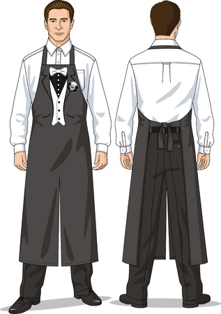 The suit for the waiter consists of a shirt, trousers and an apron Stock Vector - 14395359