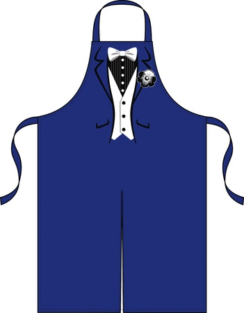 outset: Apron for the waiter with the drawn suit with a butterfly and a flower
