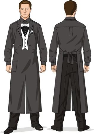 Garnitur dla kelnera składa się z koszuli, spodni oraz fartuch