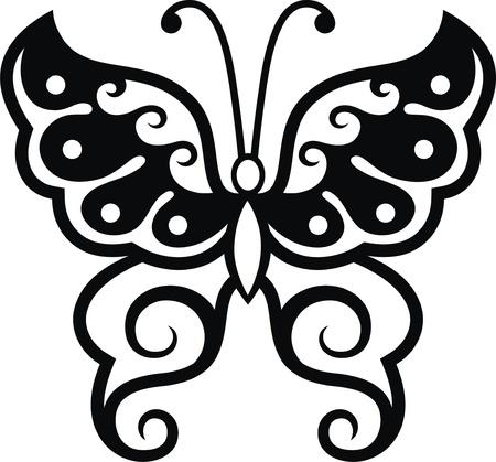 tattoo butterfly: L'immagine stilizzata della farfalla sotto forma di un tatuaggio