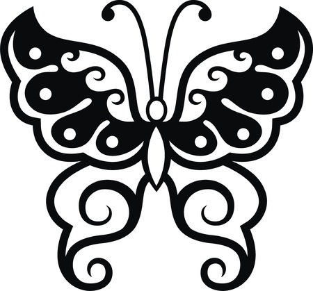 The stylized image of the butterfly in the form of a tattoo Stock Vector - 14395357