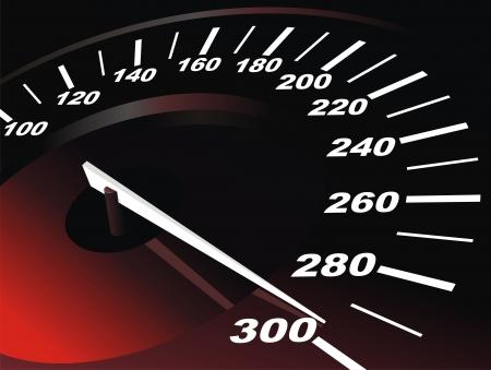 Digitale snelheidsmeter met wordt straalde pijl Stock Illustratie