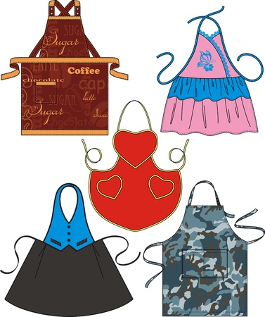 Different types of aprons with pockets and drawings Vector