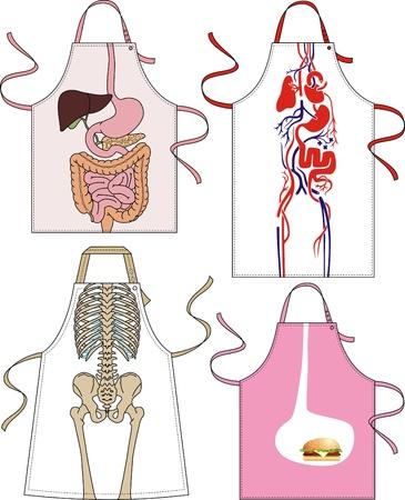 sistema digestivo: Los diferentes tipos de delantales con bolsillos y dibujos
