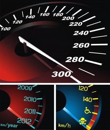 Digital speedometer with being shone arrow Stock Vector - 14455646