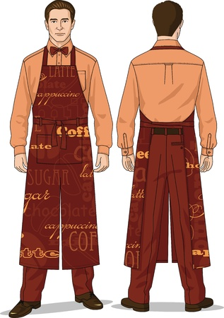The suit for the waiter consists of a shirt, trousers and an apron Stock Vector - 14455656