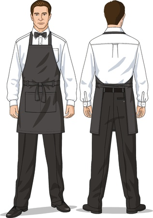 The suit for the waiter consists of a shirt, trousers and an apron