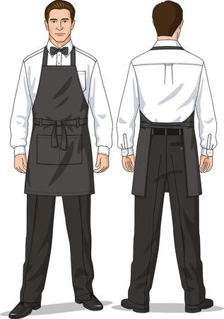 Het pak van de ober bestaat uit een shirt, broek en een schort Stock Illustratie