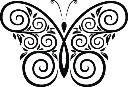 butterfly tail: The stylized image of the butterfly in the form of a tattoo