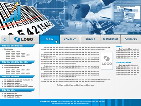 website layout: The main page of a web site with buttons and an illustration Stock Photo