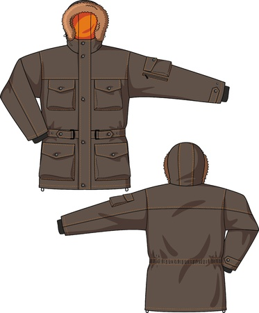 fur hood: Jacket with a hood, a belt and pockets Illustration