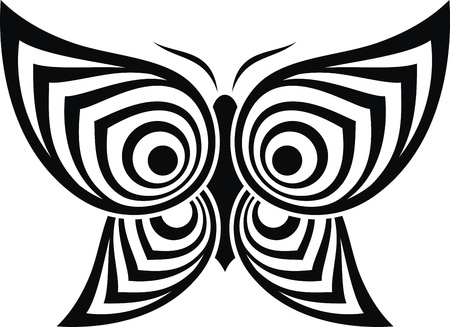 The stylized image of the butterfly in the form of a tattoo Vector