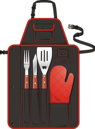 Apron with tools for a grill and pockets Vector