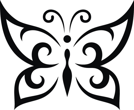 The stylized image of the butterfly in the form of a tattoo