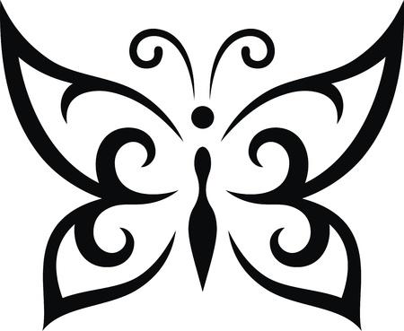 capullo: La imagen estilizada de la mariposa en la forma de un tatuaje Vectores